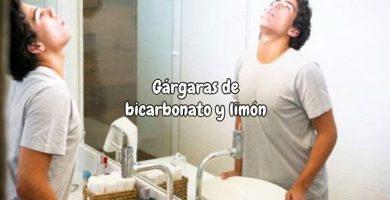 Gárgaras de bicarbonato y limón